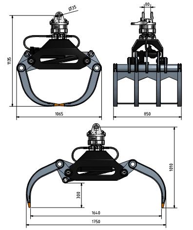 چنگ – ناخن هیدرولیک – تیپ Fork grabs - SFFG1750