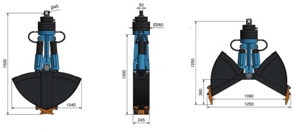CLAMSHELL GRABS باکت تا شو مدل ۷۰-SLD-V2 ، گرب کلامشل – باکت های ۲ کفه ای